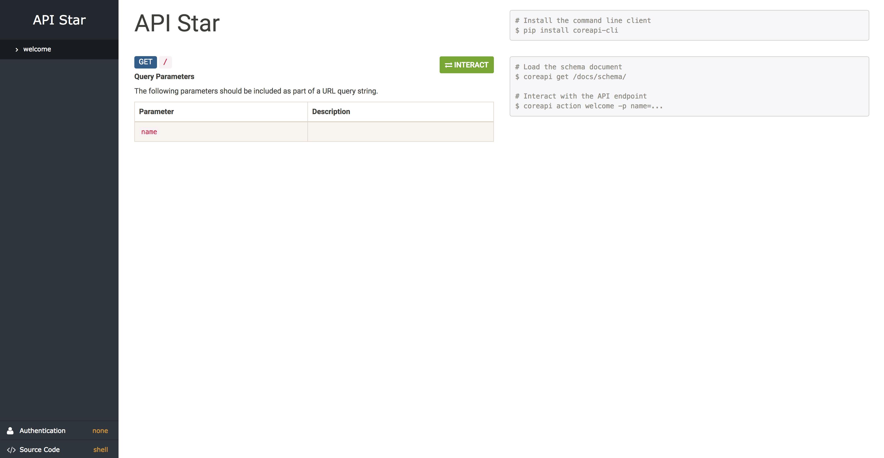 API Star new project documentation